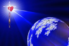 Heart of The Cross. The Heart of The Cross shines the Divine Light on the blue planet earth Royalty Free Stock Photos