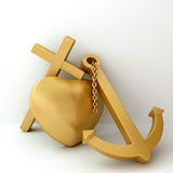 Heart Cross Anchor 3d Illustration Stock Images