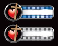 Heart on cross on blue and silver checkered banner Royalty Free Stock Image