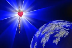 Heart of the Cross with Divine Light. Heart of the Cross casts Divine Light into darkness and earth stock illustration