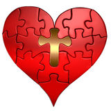Heart and Cross Puzzle Orthographic stock illustration