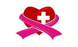 Heart Cross Ribbon Stock Images