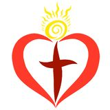 Heart with a cross and shining sun.  vector illustration