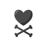 Heart and crossbones  flat icon. Flat design of love, Valentines day or broken heart object with round shadow isolated on the white background,  illustration Stock Photography