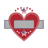 heart crossed with label paper and american flag star icon Stock Photos