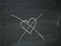 Heart crossed out chalk. Heart strikeout drawn on blackboard black white Royalty Free Stock Photos