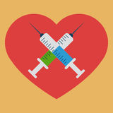 Heart with crossed syringes Royalty Free Stock Photo