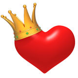 Heart with Crown 3d illustration Royalty Free Stock Photography