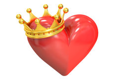 Heart with crown, 3D rendering Royalty Free Stock Photo