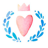 Heart with crown in wreath, cute kawaii style, watercolor technique, illustration for st valentines day, 14 february Royalty Free Stock Photography