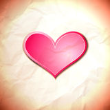 Heart on the crumpled paper Royalty Free Stock Images