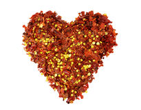 Heart of crushed red chili pepper Stock Photography