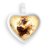 Heart cup cappuccino. Heart cup cappuccino white background Stock Photo