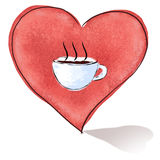 Heart_And_Cup_Of_Coffee Royalty Free Stock Photo