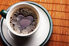Heart in a cup of coffee Stock Image