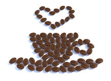 Heart and cup with coffee beans Stock Photography