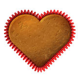 Heart cupcake in baking cup Royalty Free Stock Photography