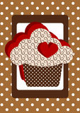 Heart Cupcake Polka Dot Card. Brown invitation card with a big cupcake, heart and polka dots vector illustration