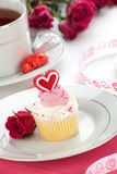 Heart Cupcake for Valentine Day Stock Images