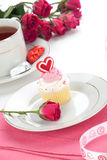 Heart Cupcake for Valentine Day Royalty Free Stock Photos