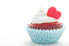 Heart cupcake for Valentine`s Day Stock Image