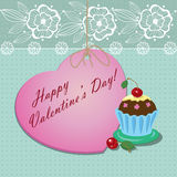 Heart with a cupcake Royalty Free Stock Images