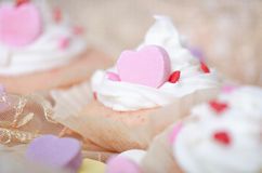 Heart Cupcake with White Icing/Whip Cream royalty free stock image