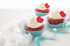 Heart cupcakes for Valentine`s Day Stock Photos