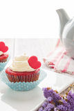 Heart cupcakes for Valentine`s Day Stock Image