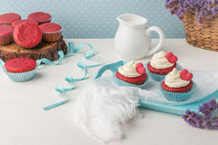 Heart cupcakes for Valentine`s Day Royalty Free Stock Photo