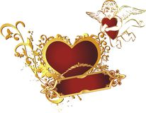 Heart with the cupid. Heart of red colour in an environment of an ornament with the flying cupid Stock Images