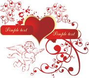 Heart with the cupid. Red heart in an environment of the cupid and butterflies Stock Photos