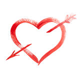 Heart and cupid arrow Royalty Free Stock Images