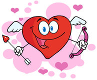 Heart cupid with a bow and arrow Royalty Free Stock Image