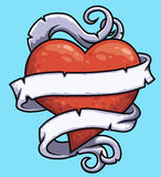 Heart with curled ribbon. Illustration of a cartoon heart with ribbon curled around it Royalty Free Stock Photos