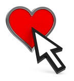 Heart and cursor Royalty Free Stock Photography