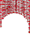 Heart curtain. Frame made of vertical heart rows on the white background Royalty Free Stock Photos