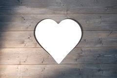 Heart cut out in wood Stock Image
