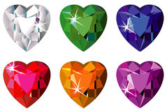Heart cut precious stones with sparkle. Illustration of heart cut precious stones with sparkle Stock Image