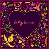Heart cute doodle frame with floral background and empty space in center for text stock illustration