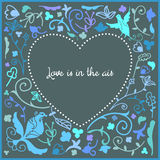 Heart cute doodle frame with floral background and empty space in center for text Stock Photos