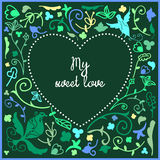 Heart cute doodle frame with floral background and empty space in center for text Royalty Free Stock Photo