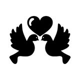 Heart with cute dove flying icon Royalty Free Stock Image