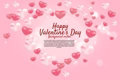 Heart 3D balloon graphic background concept. stock illustration