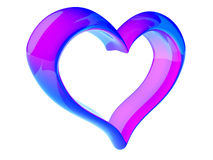 Heart. 3D blue-pink heart of glass on white background Royalty Free Stock Photo