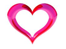 Heart. 3D heart of glass, pink and red color on white background Stock Image