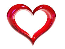 Heart. 3D red heart of glass on white background Royalty Free Stock Images