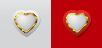 Heart 3d white and gold color Royalty Free Stock Image