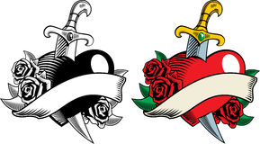 Heart dagger and flowers. Vector illustration in tattoo-style. Heart, dagger and roses. The color and black-and-white image Stock Photography