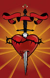Heart with dagger illustration. An illustration of a heart with a dagger piecing through Stock Images